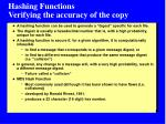 hashing functions verifying the accuracy of the copy