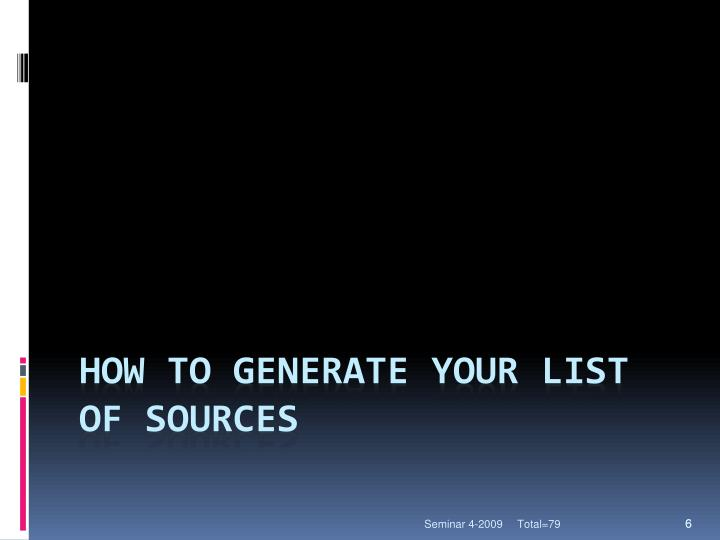 How to generate your list of sources