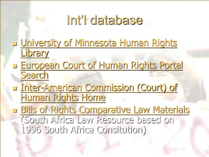 Int'l database
