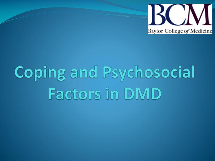 Coping and Psychosocial Factors in DMD