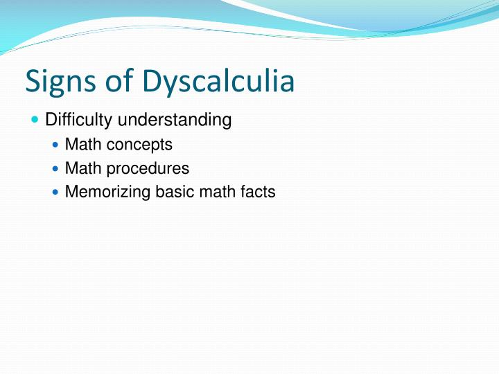 Signs of Dyscalculia