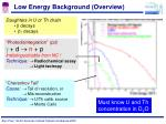 low energy background overview