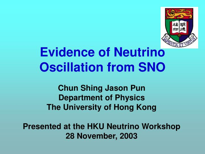 evidence of neutrino oscillation from sno