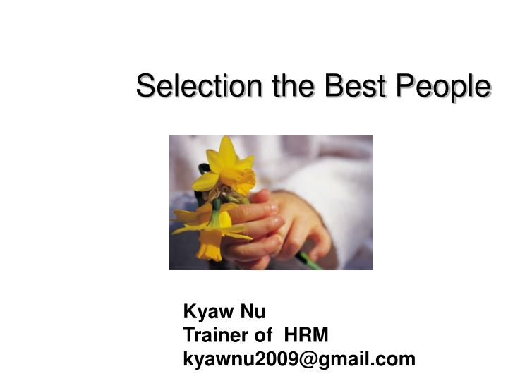 selection the best people n.