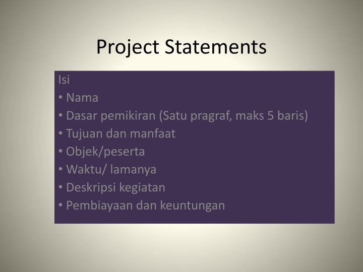 Project Statements