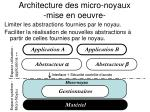 architecture des micro noyaux mise en oeuvre