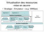 virtualisation des ressources mise en uvre