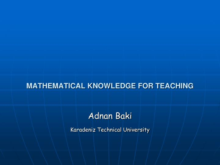 mathematical knowledge for teaching n.