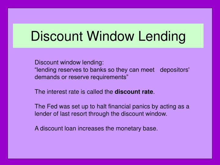 Discount Window Lending