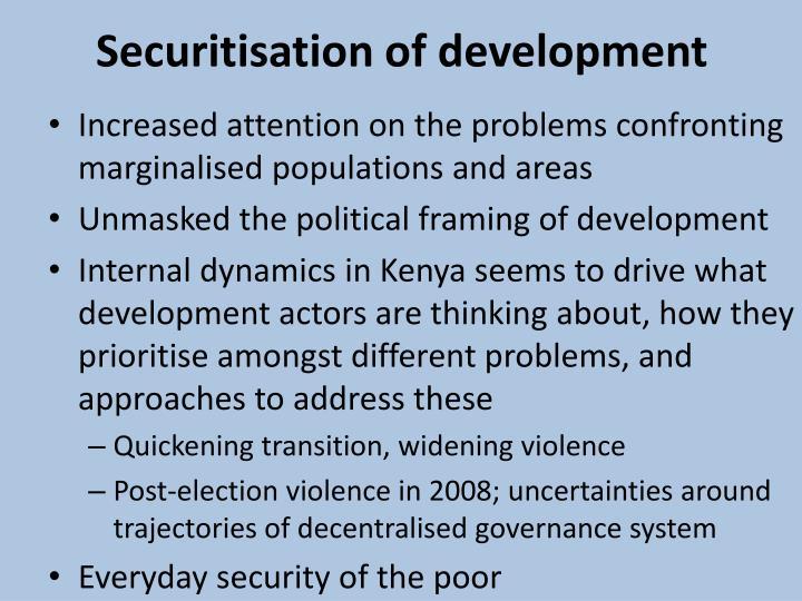 Securitisation of development