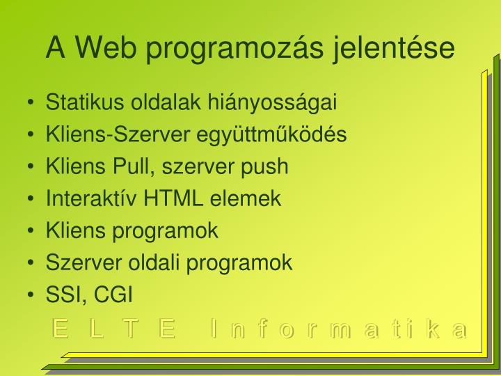 A web programoz s jelent se