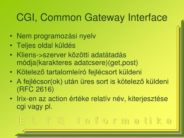CGI, Common Gateway Interface