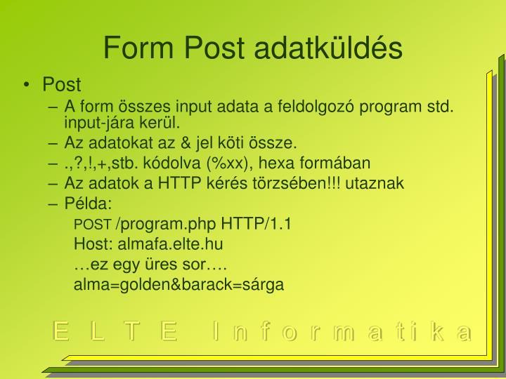 Form Post adatküldés