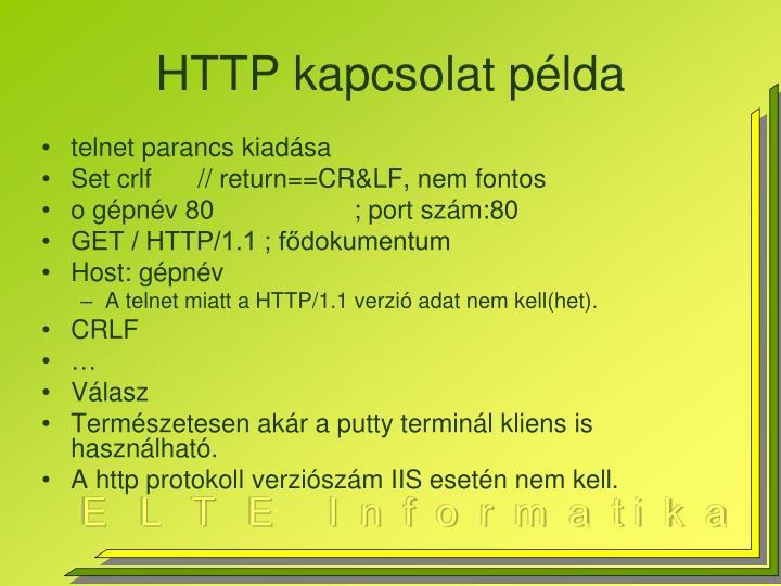 HTTP kapcsolat példa