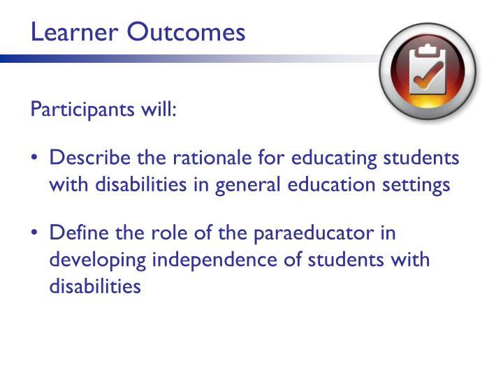 Learner Outcomes