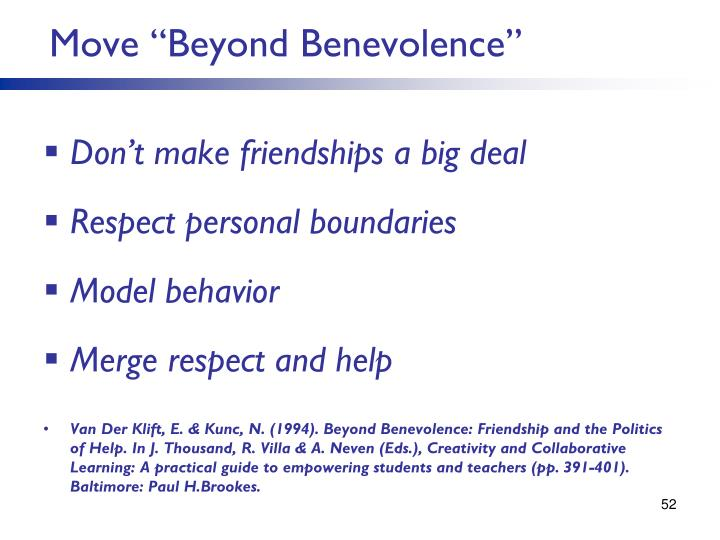 "Move ""Beyond Benevolence"""