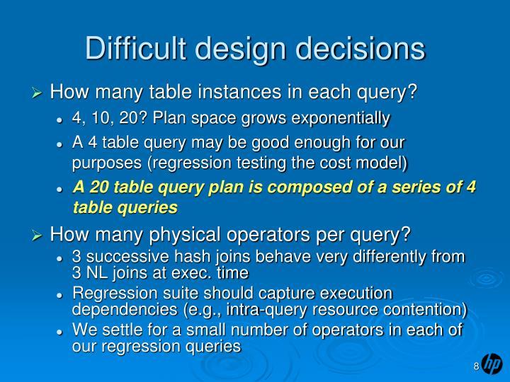 Difficult design decisions