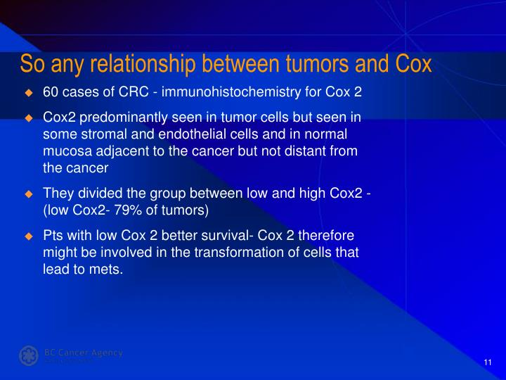 So any relationship between tumors and Cox