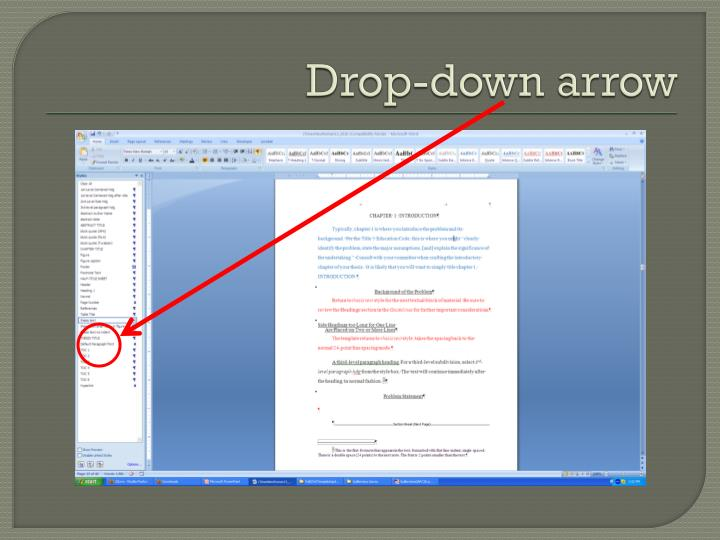 Drop-down arrow