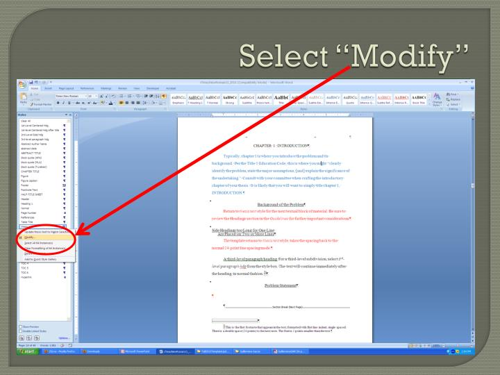 "Select ""Modify"""