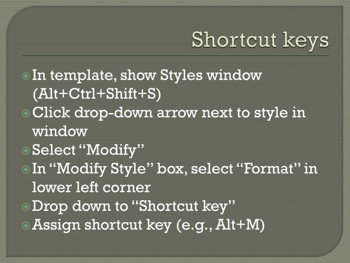 Shortcut keys1