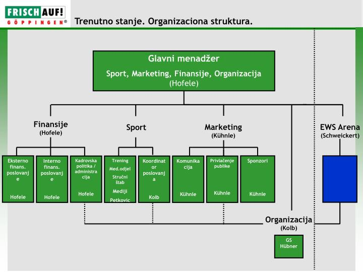 Trenutno stanje. Organizaciona struktura.