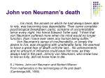 john von neumann s death