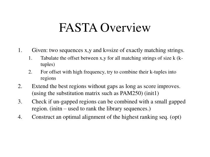 FASTA Overview