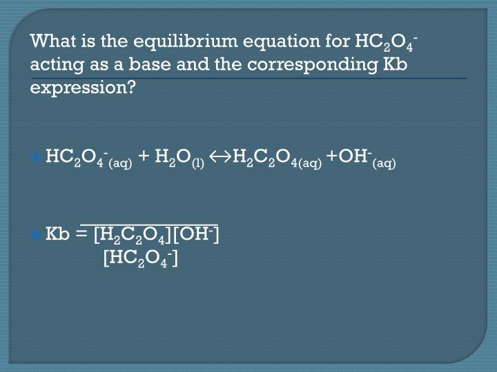 What is the equilibrium equation for HC