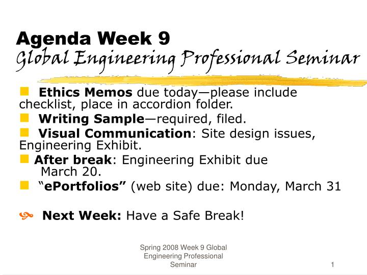 week 14 professional seminar