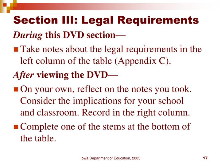 Section III: Legal Requirements
