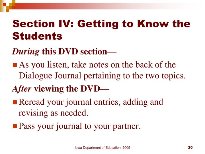 Section IV: Getting to Know the Students