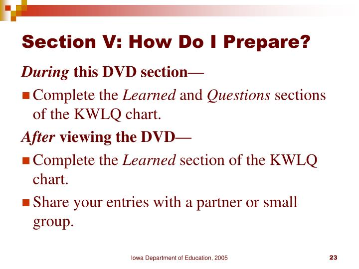Section V: How Do I Prepare?