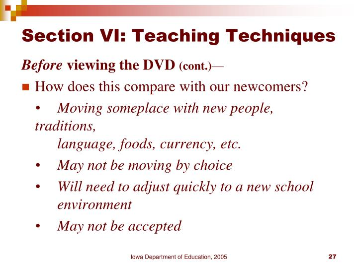 Section VI: Teaching Techniques