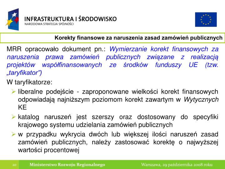 Korekty finansowe za naruszenia zasad zamówień publicznych