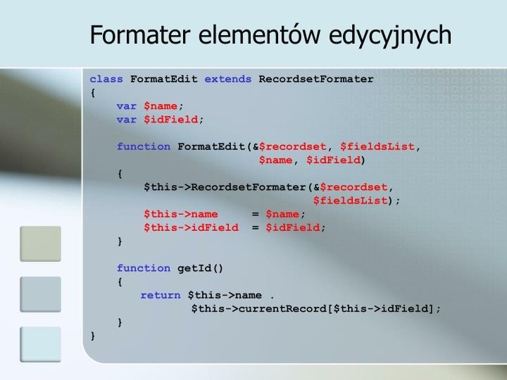 Formater elementów edycyjnych