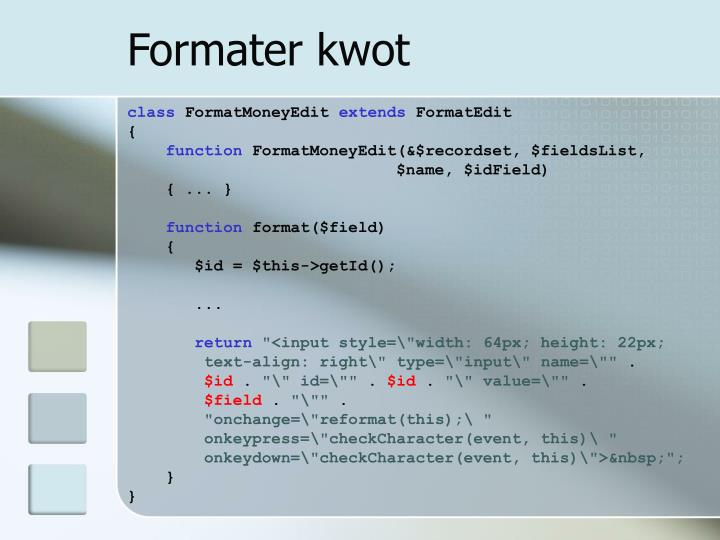 Formater kwot