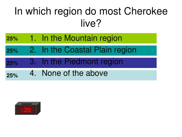 In which region do most cherokee live