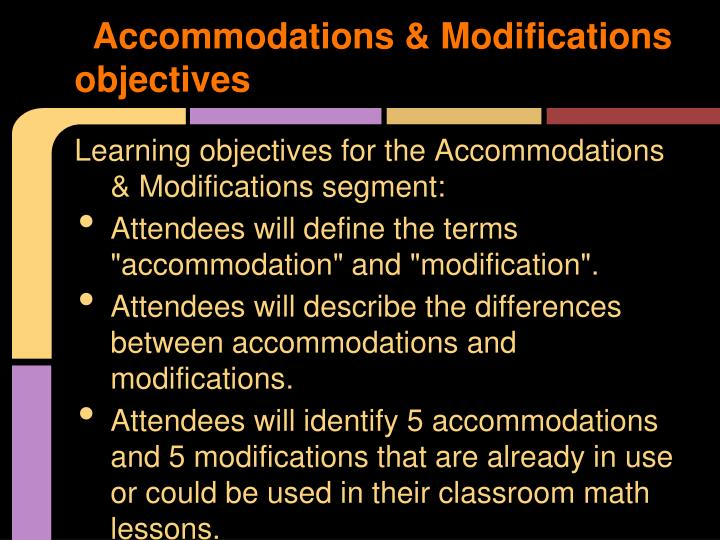 Accommodations & Modifications objectives