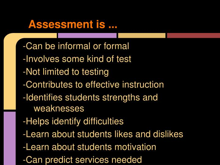 Assessment is ...