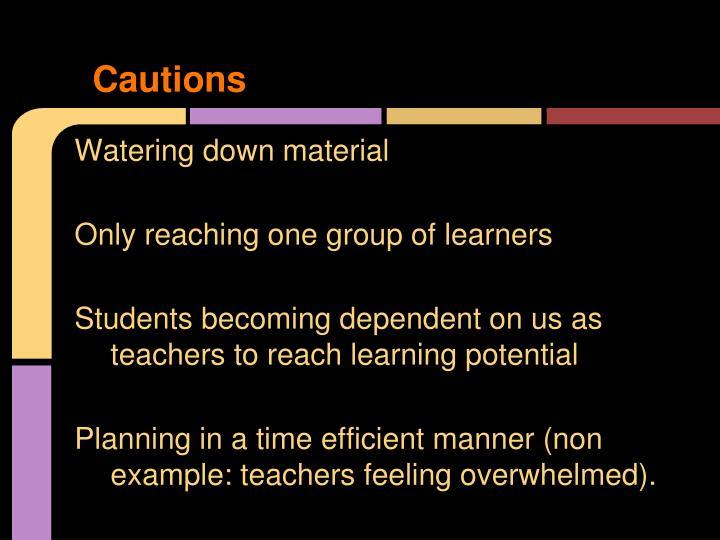 Cautions