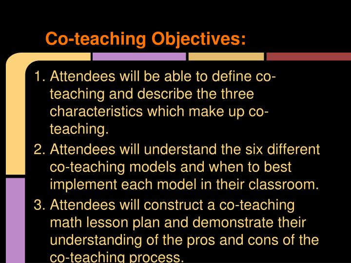 Co-teaching Objectives: