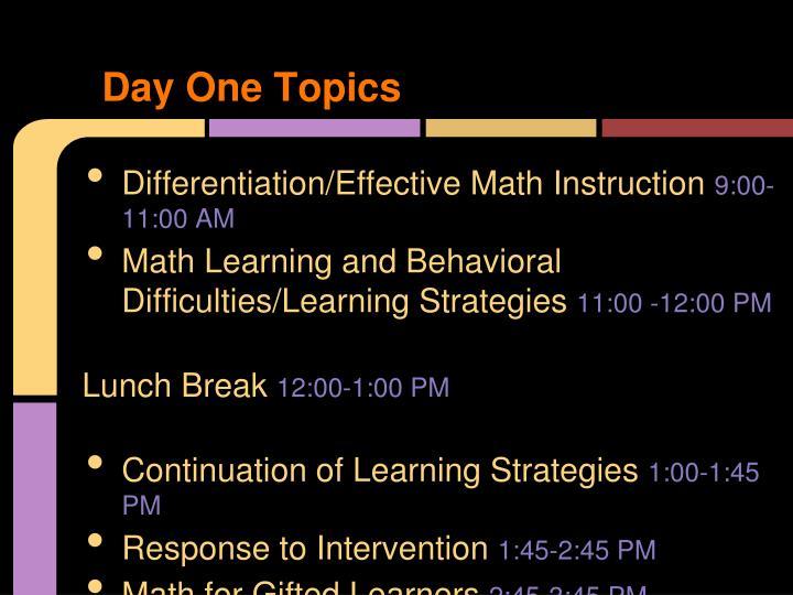 Day one topics