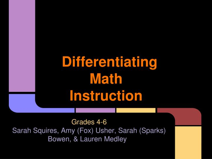 differentiating math instruction n.