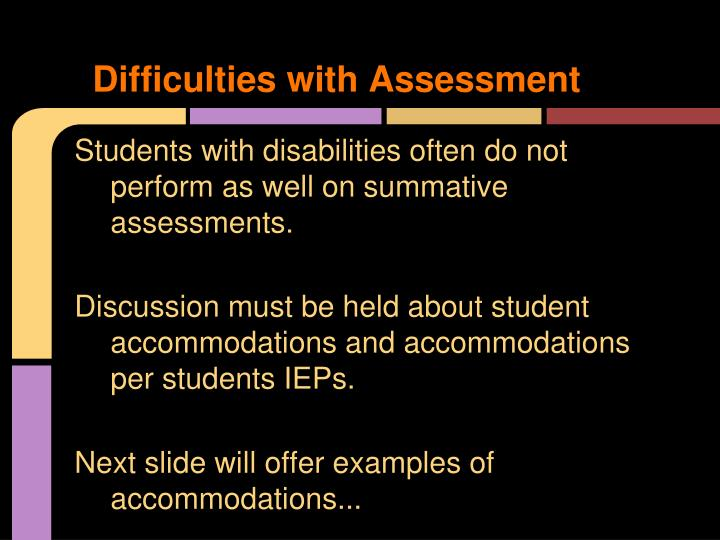 Difficulties with Assessment