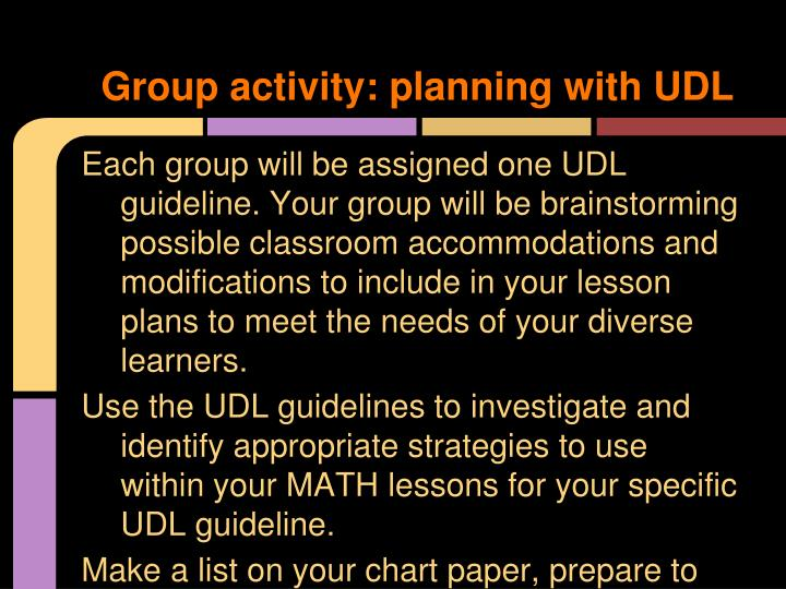 Group activity: planning with UDL