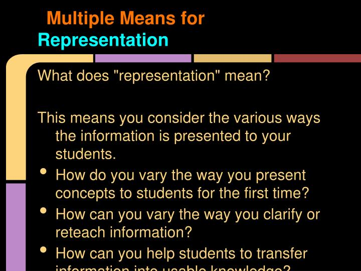 Multiple Means for