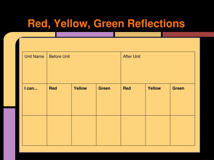 Red, Yellow, Green Reflections