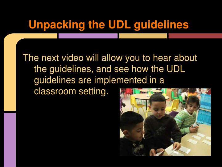 Unpacking the UDL guidelines