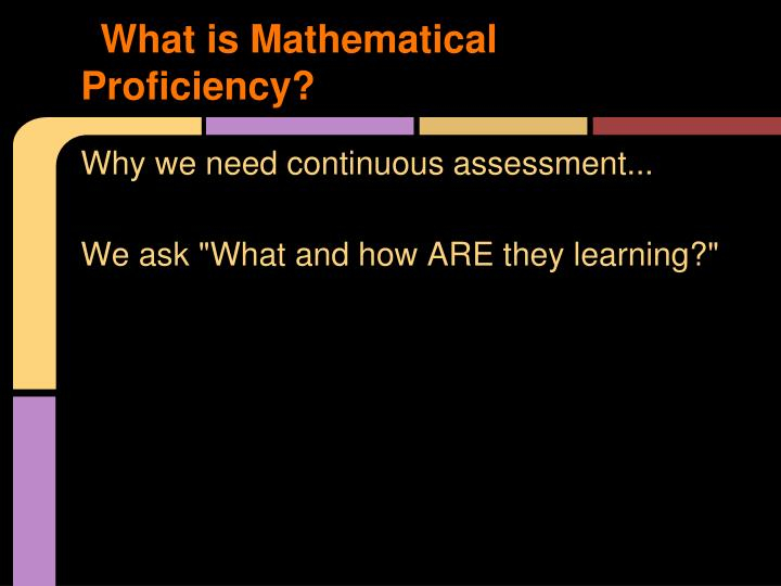 What is Mathematical Proficiency?